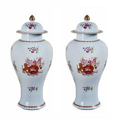 Fine Pair of circa 1915, Chinese Armorial Urns