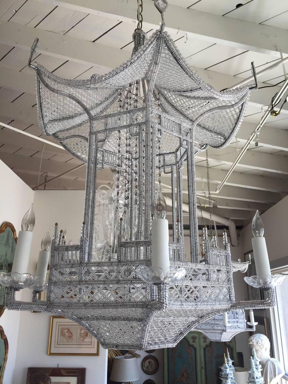 "Custom Made ""Venezia"" Beaded Pagoda Chandelier For Sale"