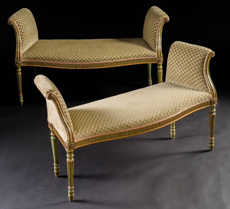 Pair of George III Green Painted and Parcel Gilt Window