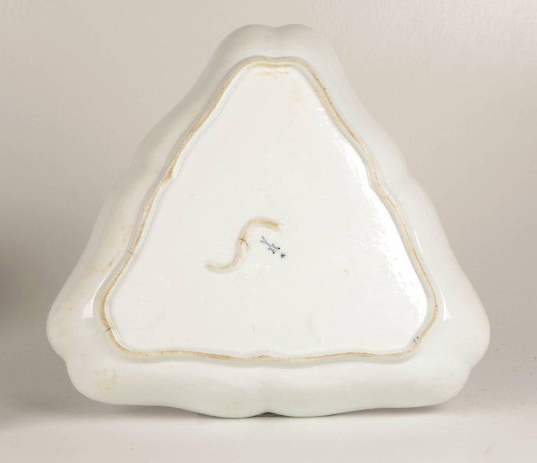 Large 18th Century Marcolini Meissen Blue and White Triangular Dish In Excellent Condition For Sale In St. Louis, MO