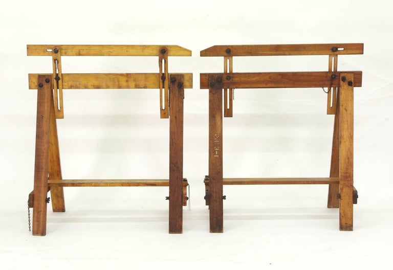 American Craftsman Pair of Adjustable Sawhorses, circa 1920 For Sale