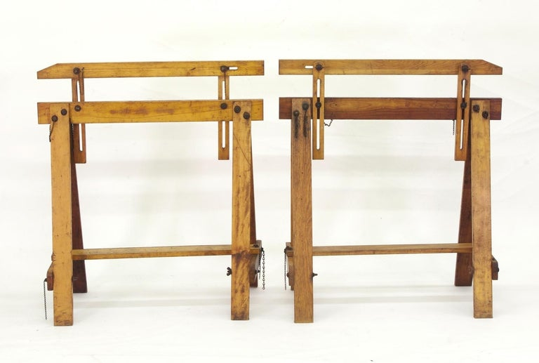 American Pair of Adjustable Sawhorses, circa 1920 For Sale