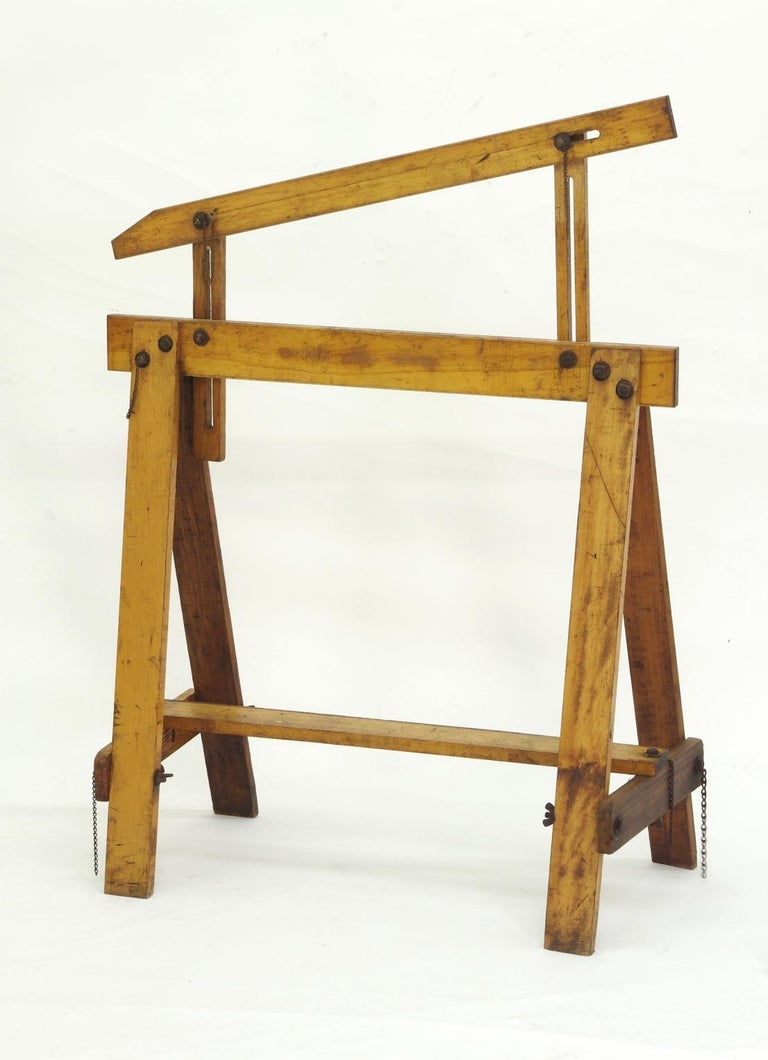 Pair of Adjustable Sawhorses, circa 1920 For Sale 1