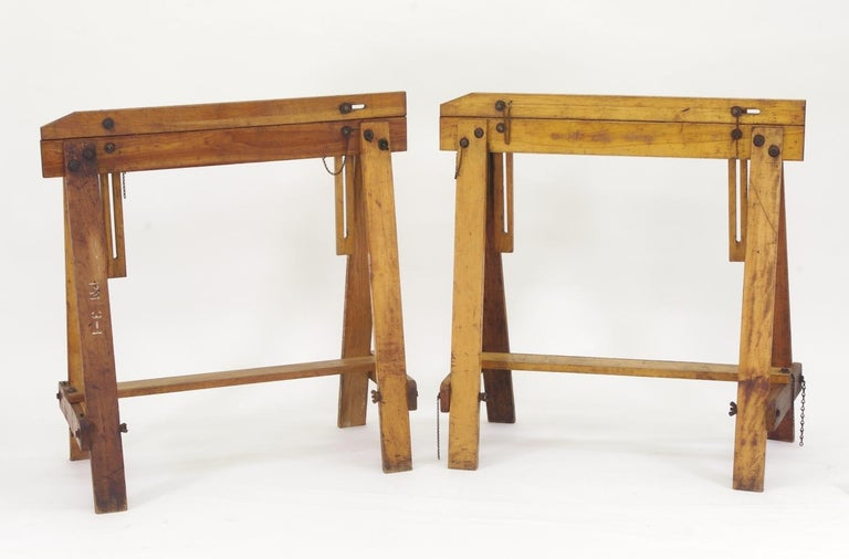 Pair of Adjustable Sawhorses, circa 1920 For Sale 4
