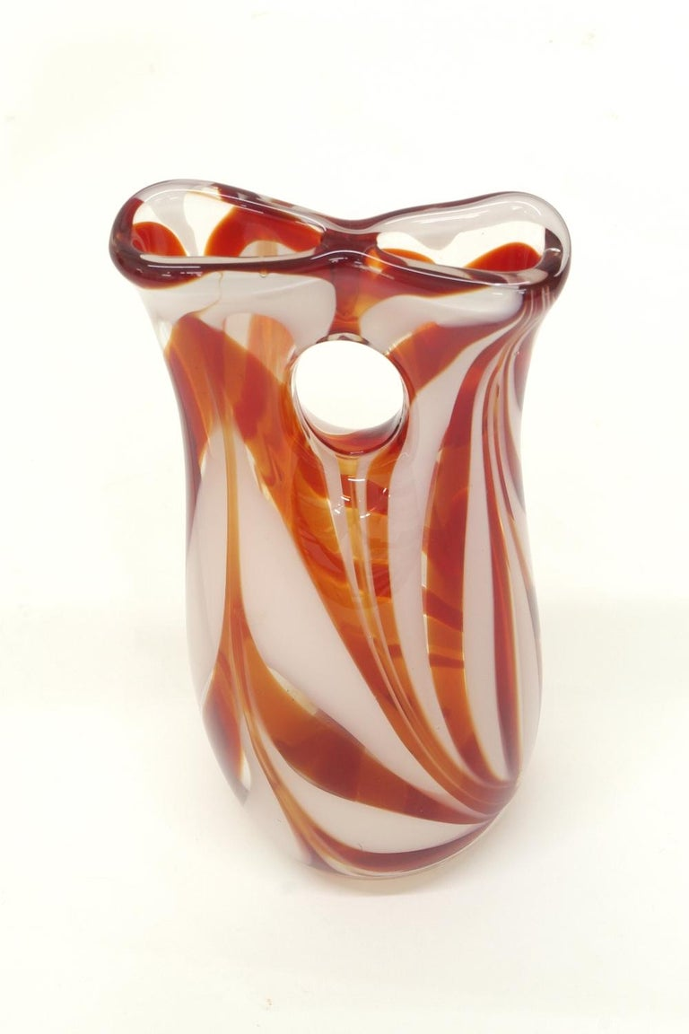 Mid-Century Modern Murano Glass Candy Stripe Vase For Sale