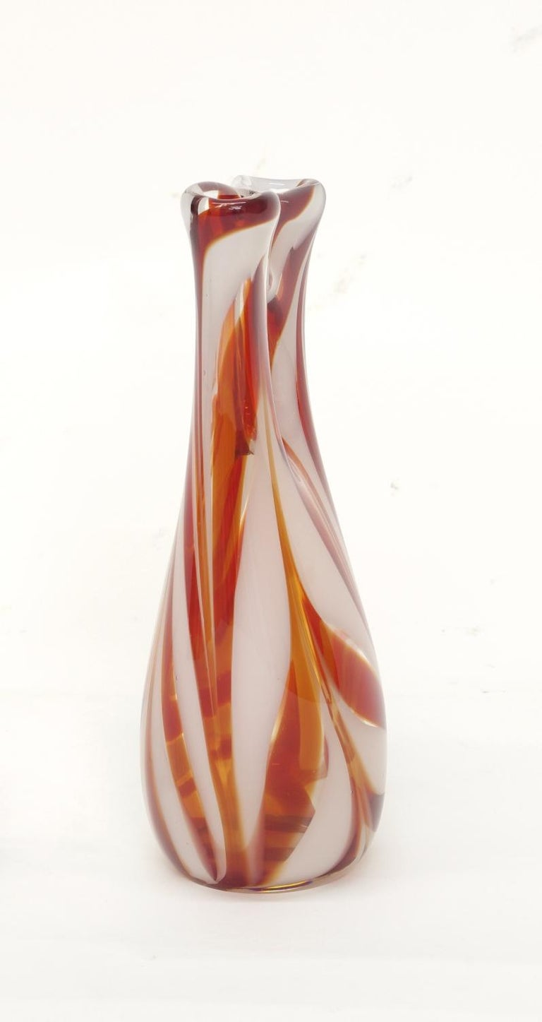 Murano Glass Candy Stripe Vase In Excellent Condition For Sale In St. Louis, MO