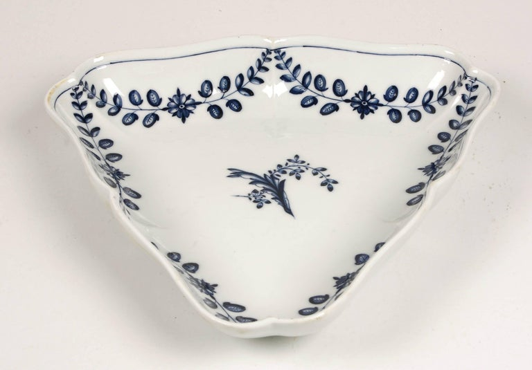 Marcolini Meissen Porcelain triangular serving tray decorated in underglaze blue with the Festoon and branch pattern. Crossed swords mark with star.