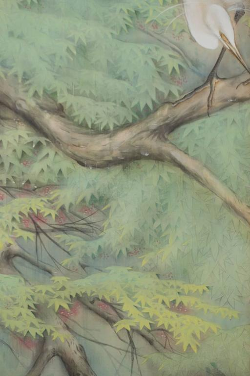 Japanese Six Panel Screen: Egrets in the Rain In Excellent Condition For Sale In Hudson, NY
