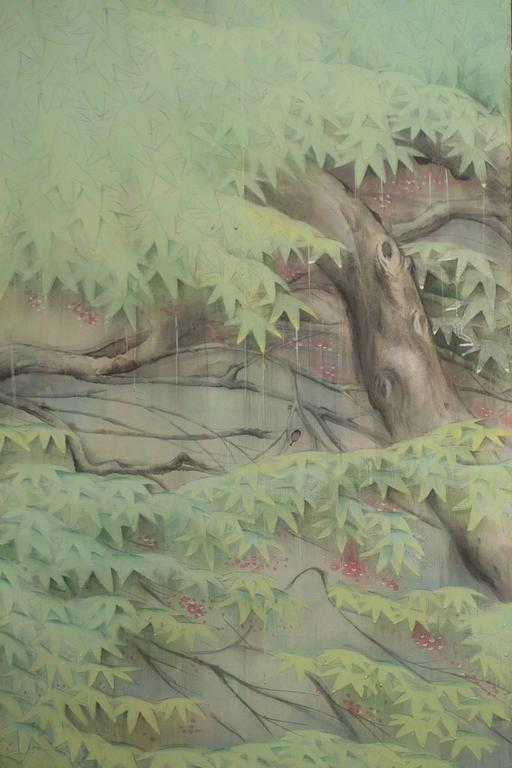 Mid-20th Century Japanese Six Panel Screen: Egrets in the Rain For Sale