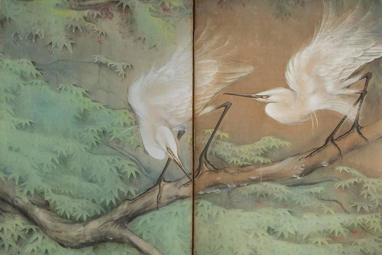 Japanese Six Panel Screen: Egrets in the Rain Mineral pigments on mulberry paper with tones of silver in the foreground Signed and sealed 北遥 Hokuyo.  Born in Kyoto, Toda Hokuyo graduated from the Kyoto City Public Craft School in 1922 and from its