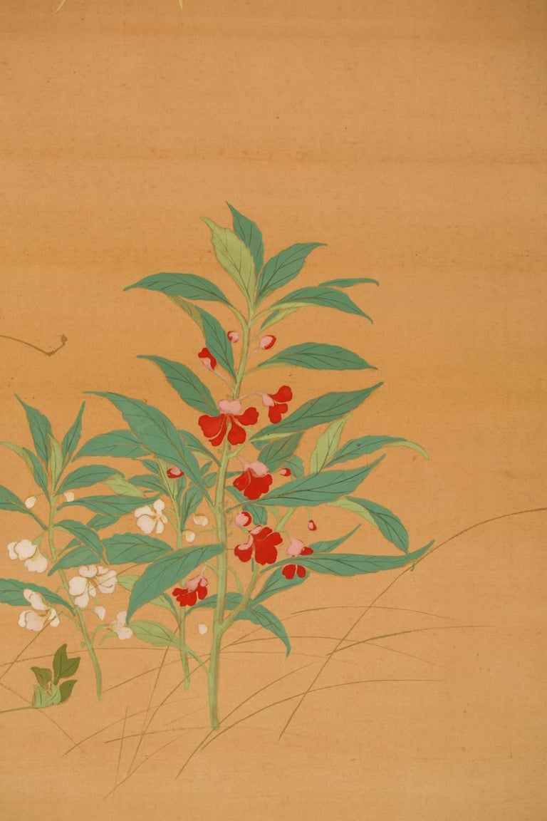 Japanese Two-Panel Screen, Summer Flowers on Silk For Sale 2