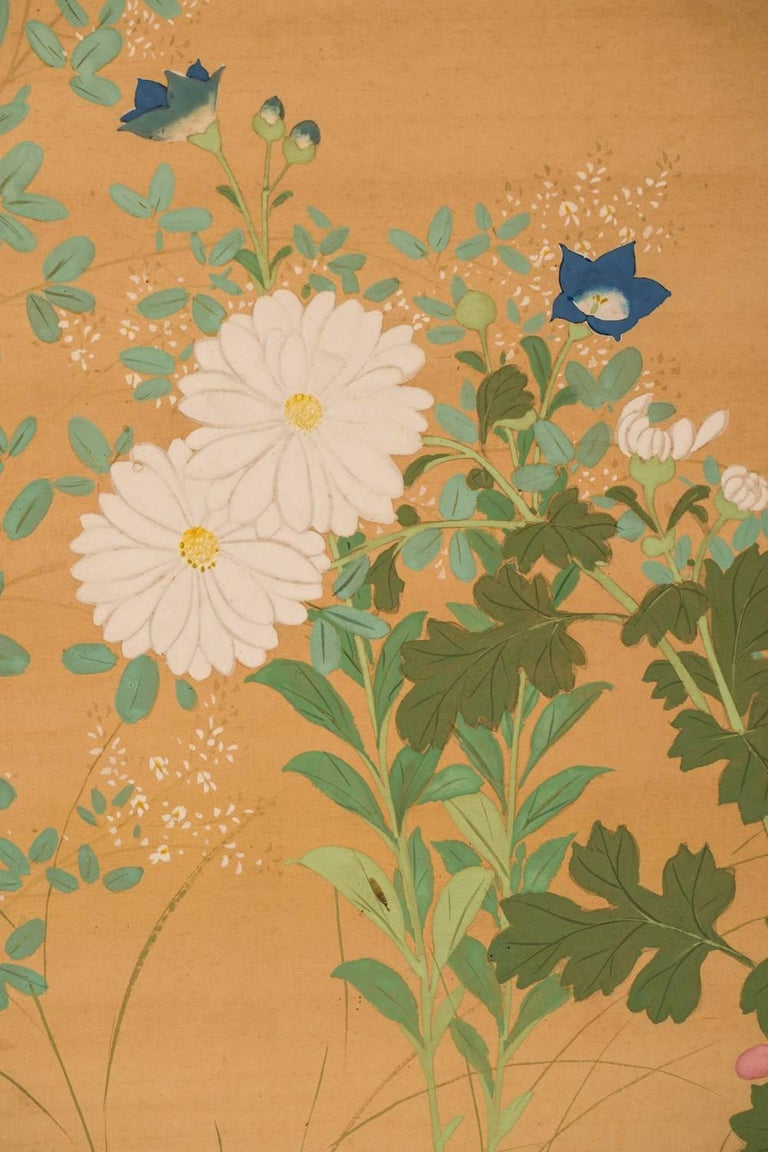 Rimpa painting of flowers including morning glories, hollyhocks, sweet peas, nadeshiko, and daisies.  Signature and seal read: Bisui