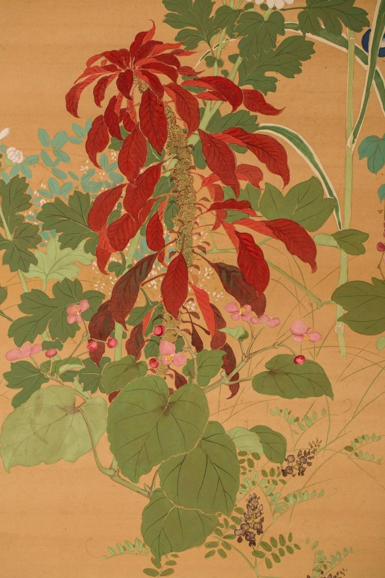 Japanese Two-Panel Screen, Summer Flowers on Silk In Good Condition For Sale In Hudson, NY