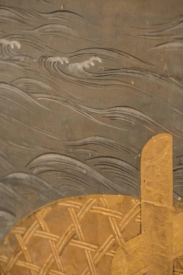 19th Century Japanese Six Panel Screen: Battle of Uji Bridge For Sale