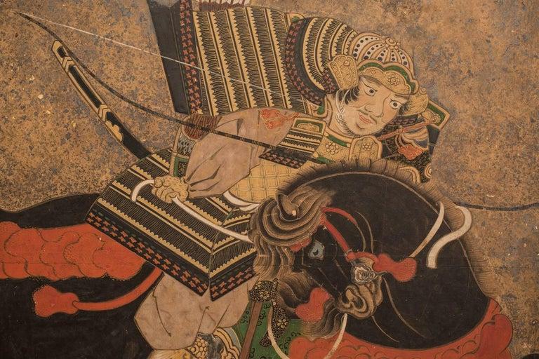 Japanese Six Panel Screen: Battle of Uji Bridge For Sale 2