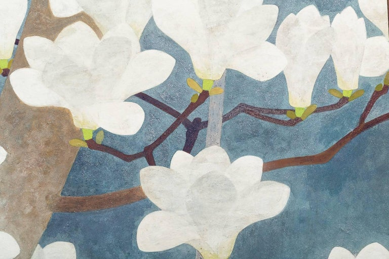 Vibrant blue mineral pigments and mica dust on mulberry paper. Deco painting, beautifully executed. Signature unreadable.
