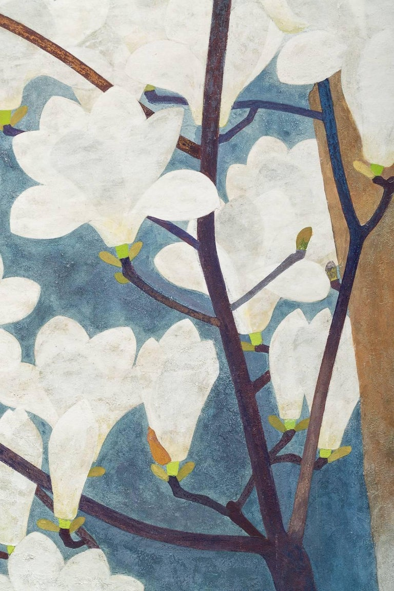 20th Century Japanese Two-Panel Screen, Magnolia in Bloom For Sale