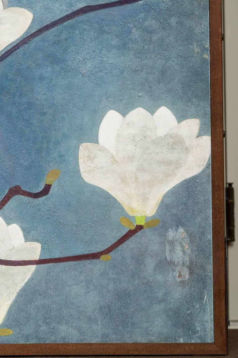 Japanese Two-Panel Screen, Magnolia in Bloom For Sale 4