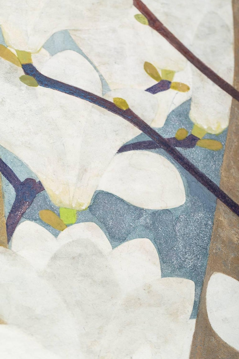 Japanese Two-Panel Screen, Magnolia in Bloom For Sale 1