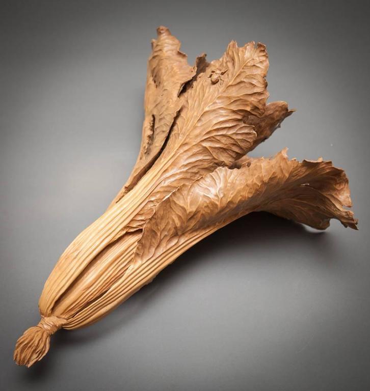 Japanese large wood carving of bok choy at stdibs