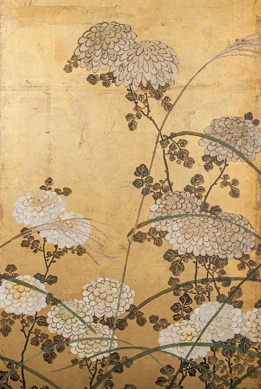 Edo Japanese Screen White Chrysanthemums and Wild Grasses For Sale