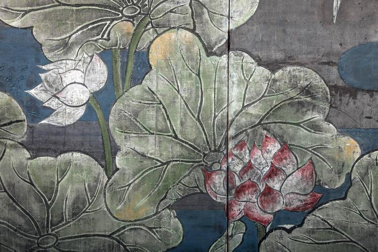 Japanese Two Panel Screen, Lotus and Heron In Excellent Condition For Sale In Hudson, NY