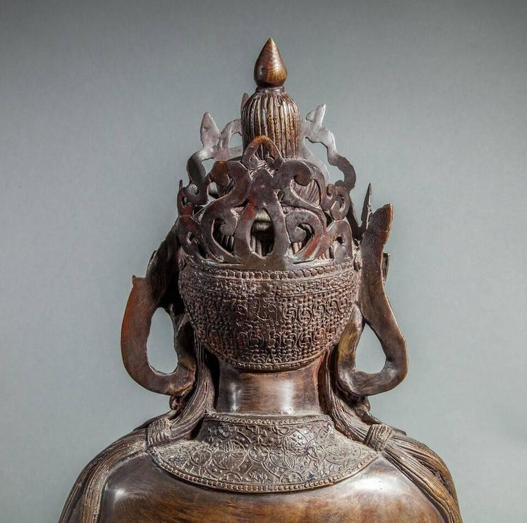 19th Century Chinese Bronze Sculpture of a Seated Buddha For Sale