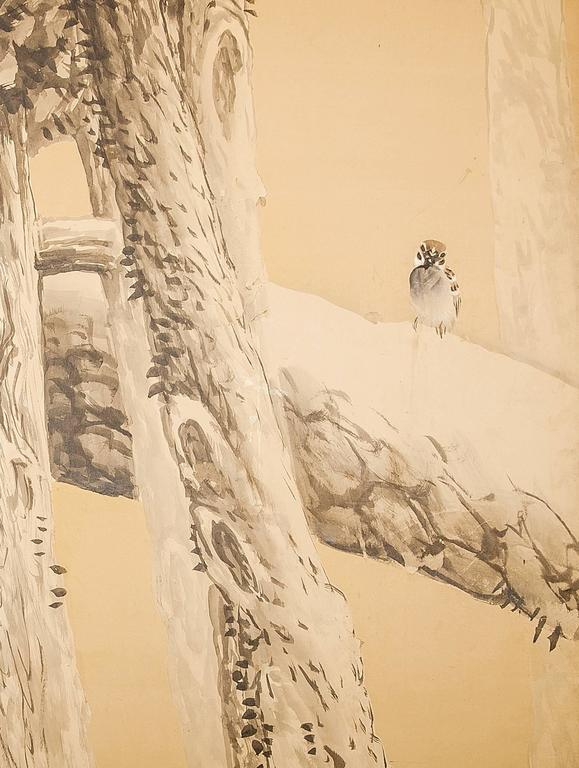 Japanese six-panel screen, pine in winter, Taisho period painting (1912-1926) in minimal color on paper, by Bunto Hayashi (1882-1966), signed and sealed. Hayashi was born in Kyoto, and studied under Maekawa Bunrei and Yamamoto Shunkyo. He founded