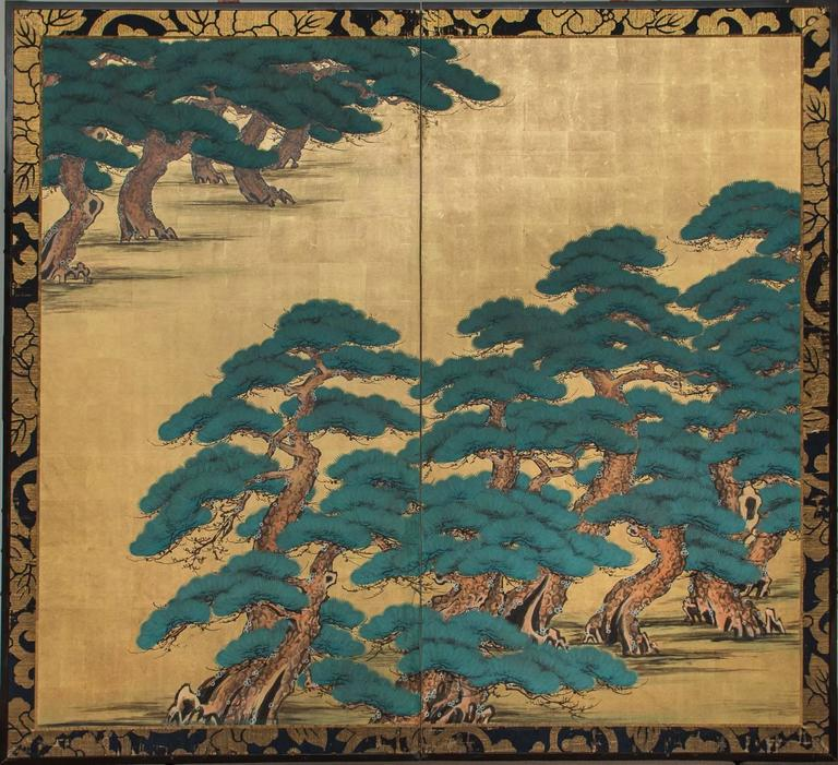 Kano school painting of Hammatsu (Pine Tree Island.) Mineral Pigments on gold leaf. Antique brocade made of monk's robes.