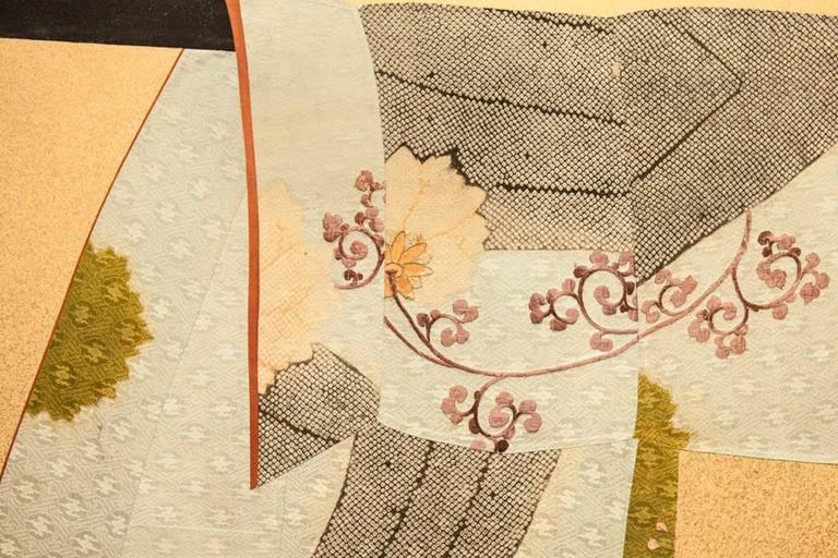 """Japanese Two Panel Screen: Tagasode (Whose Sleeves?)  The phrase, """"tagasode"""", which translates to """"whose sleeves?"""", is a literary reference to early Japanese poetry (where the phrase is found most often) and is a classic motif in Japanese art.  By"""