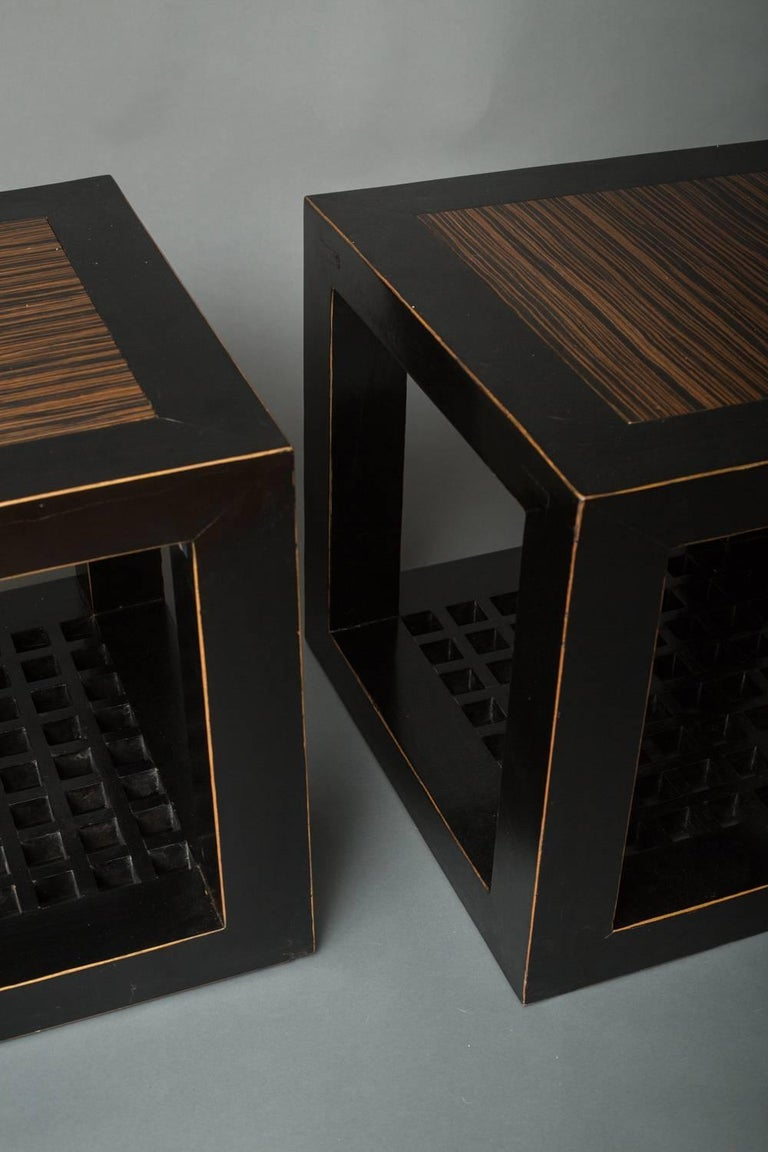 Pair of cube tables with zebrawood tops.
