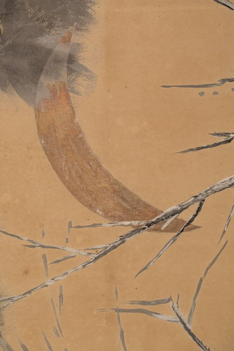 Japanese Six-Panel Screen: Late Autumn Pine and Crescent Moon In Good Condition For Sale In Hudson, NY