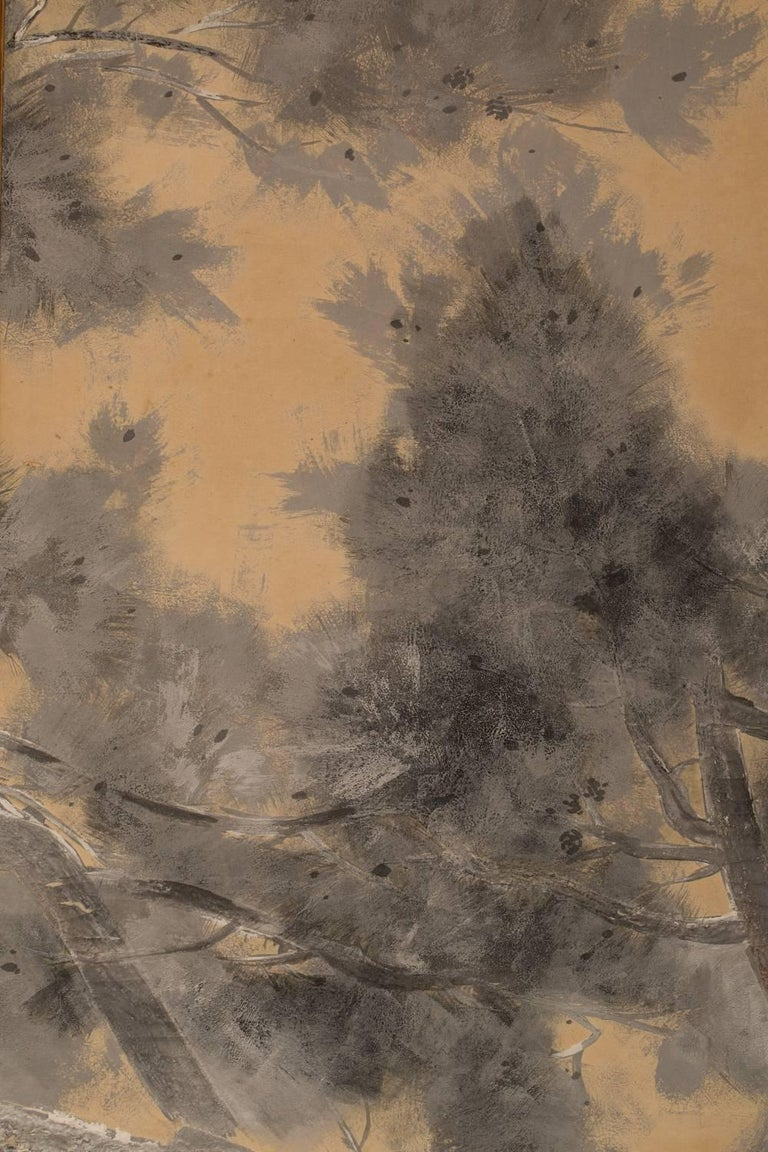 Japanese Six-Panel Screen: Late Autumn Pine and Crescent Moon For Sale 1