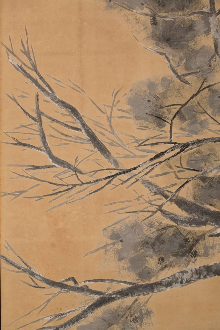 Japanese Six-Panel Screen: Late Autumn Pine and Crescent Moon For Sale 3