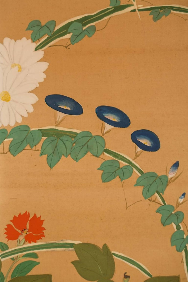 Japanese Two-Panel Screen, Summer Flowers on Silk For Sale 3