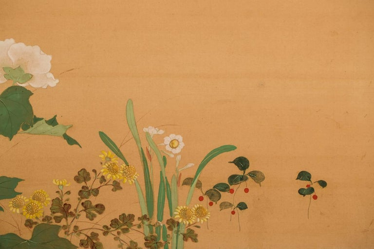 Japanese Two-Panel Screen, Summer Flowers on Silk For Sale 5