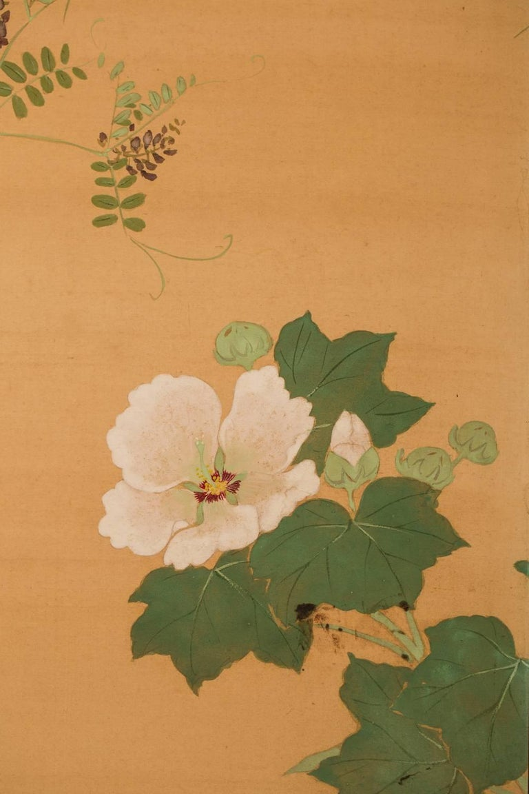 Japanese Two-Panel Screen, Summer Flowers on Silk For Sale 4