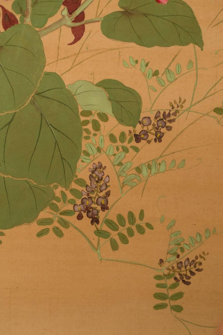 Japanese Two-Panel Screen, Summer Flowers on Silk For Sale 1