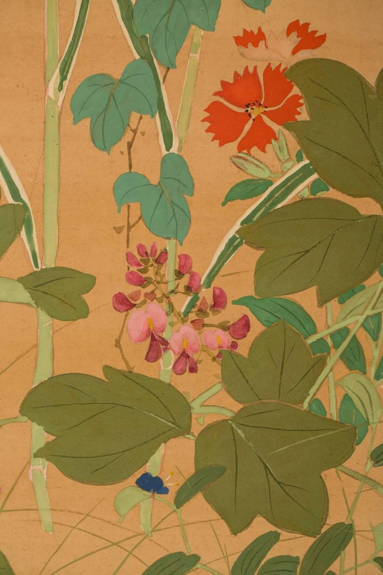 19th Century Japanese Two-Panel Screen, Summer Flowers on Silk For Sale
