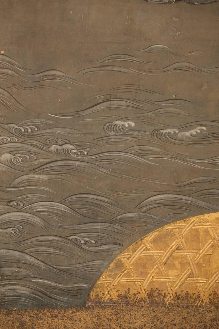 Japanese Six Panel Screen: Battle of Uji Bridge For Sale 1