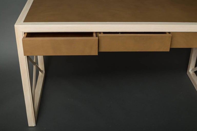 American Pickled Oak and Leather Desk For Sale