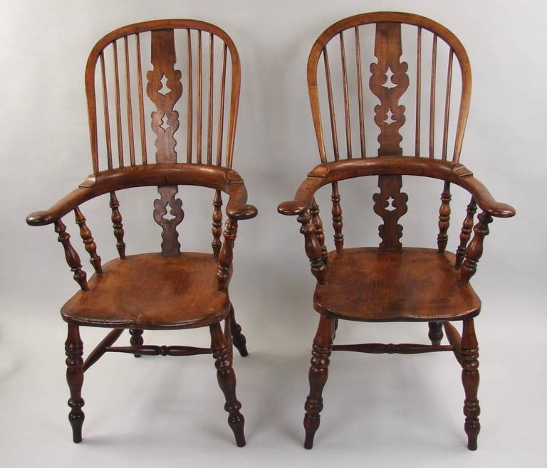 Harlequin Set Of Eight Elm And Ash Broad Arm High Back Windsor Chairs 2