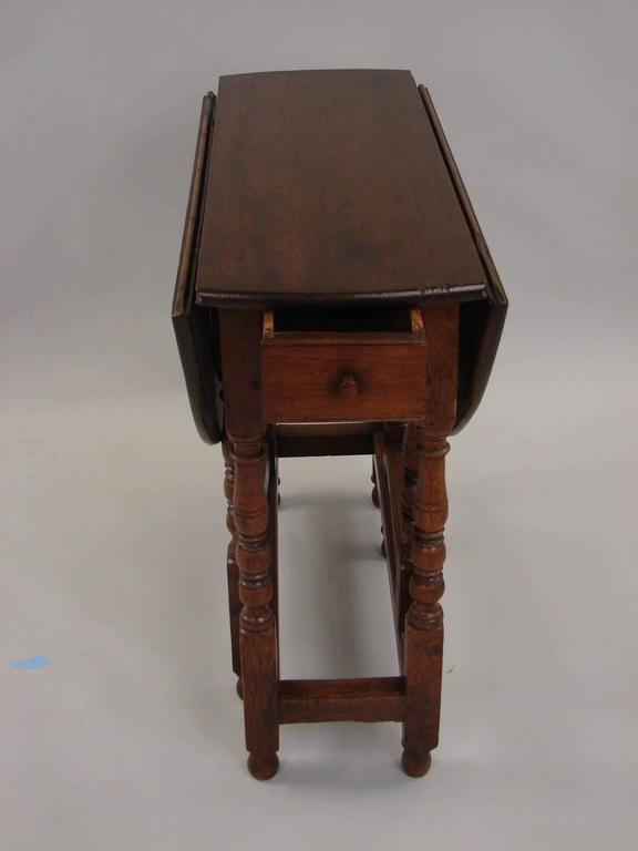 Small william and mary style walnut and oak gateleg table with drawer at 1stdibs - Gateleg table with drawers ...