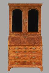 George II Walnut Veneered Bureau Cabinet