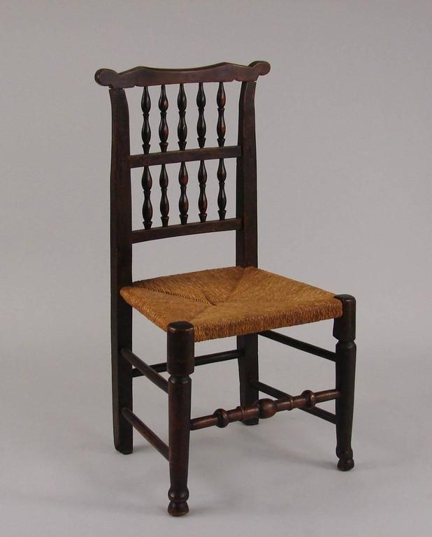 English Elm Provincial Spindle Back Chairs With Rush Seats