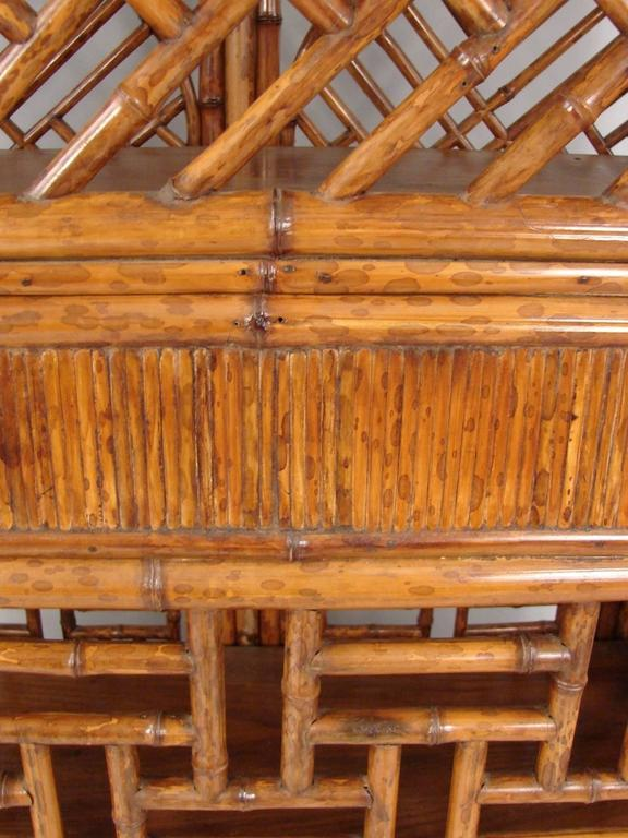 Chinese Painted Bamboo Cabinet With Interior Drawers And