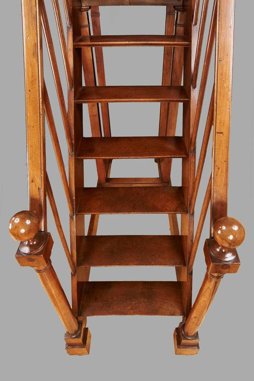 19th Century Spectacular Set of French Directoire Style Fruitwood Library Stairs For Sale