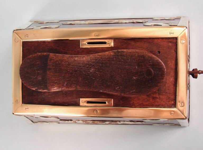 Brass Highly Decorative Mahogany Turkish Art Nouveau Period Shoe Shine Box For Sale