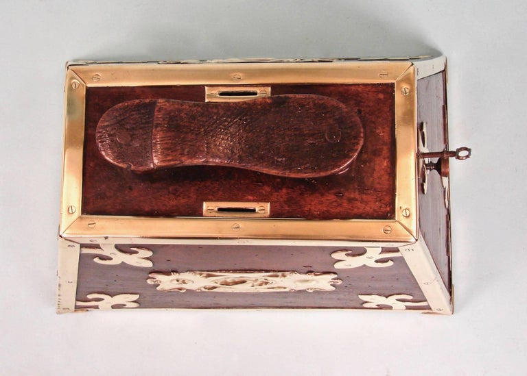 19th Century Highly Decorative Mahogany Turkish Art Nouveau Period Shoe Shine Box For Sale