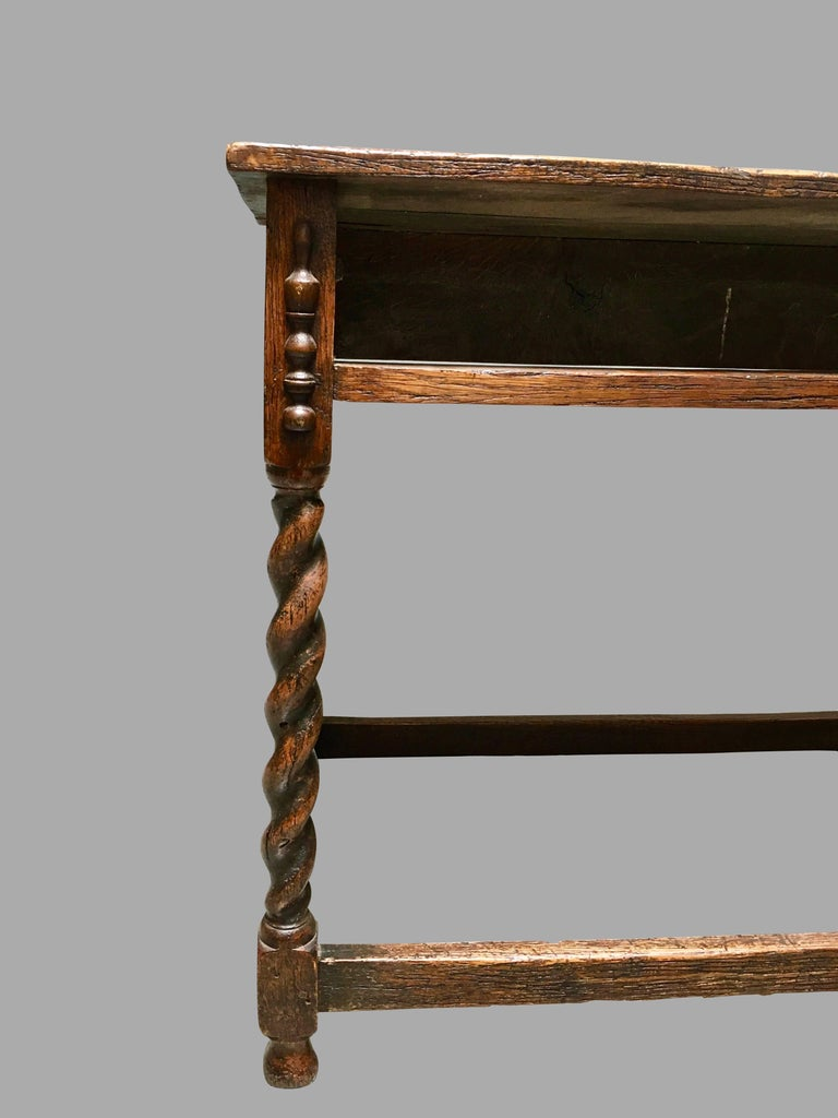 Late 17th Century James II English Oak Side Table with Drawer For Sale